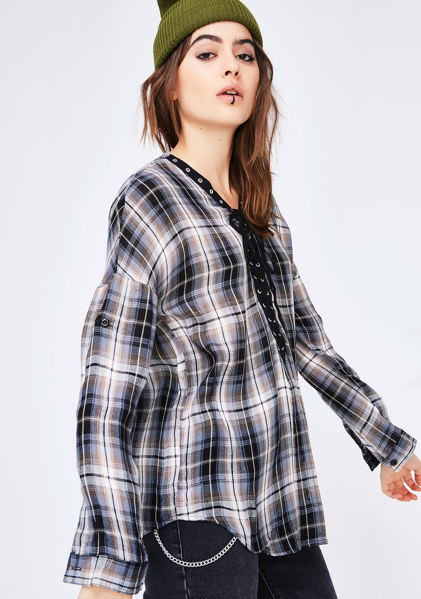 Useless Information Plaid Top