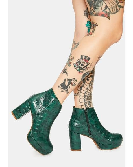 Green Croc Disco Ankle Booties