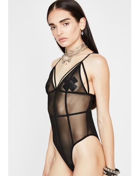 Midnight Passionate Plea Sheer Bodysuit