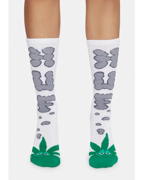 White Huf N Puff Buddy Socks
