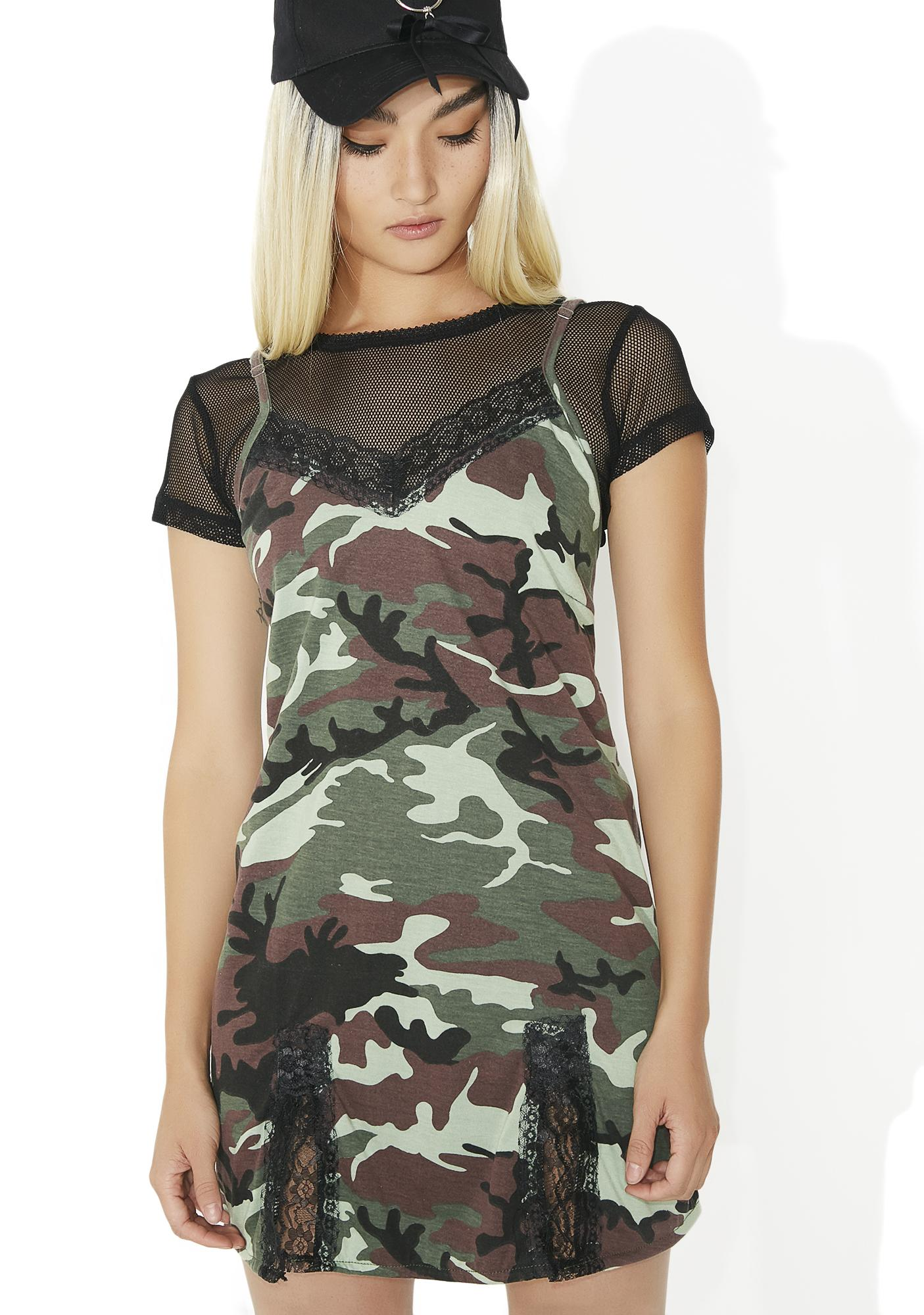 O Mighty Green Camo Babydoll Dress
