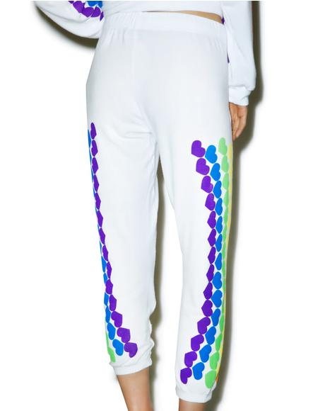 Lovie Rainbow Heart Cropped Sweatpants