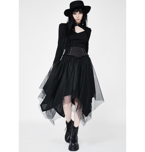 Punk Rave Lace Up Tulle Midi Skirt
