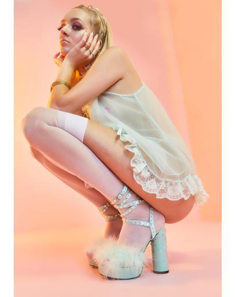 Mint Boudoir Baby Fluffy Heels