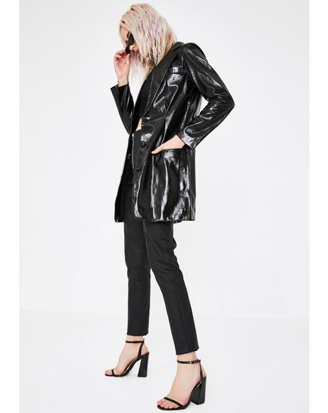 All Night Long Faux Leather Blazer