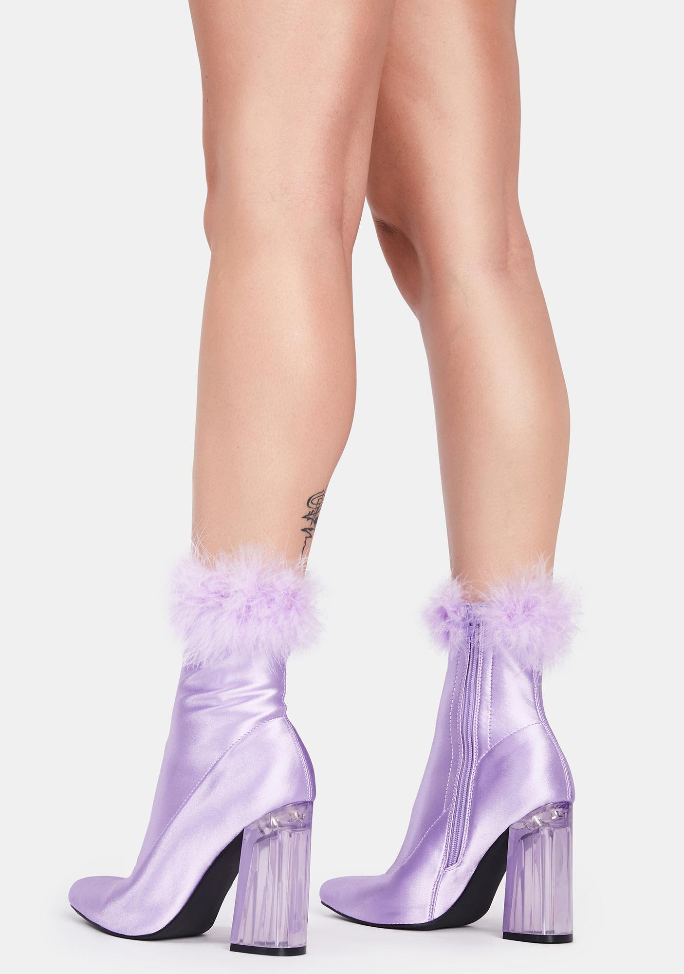 Sugar Thrillz Baby Luv Me Or Hate Me Marabou Boots