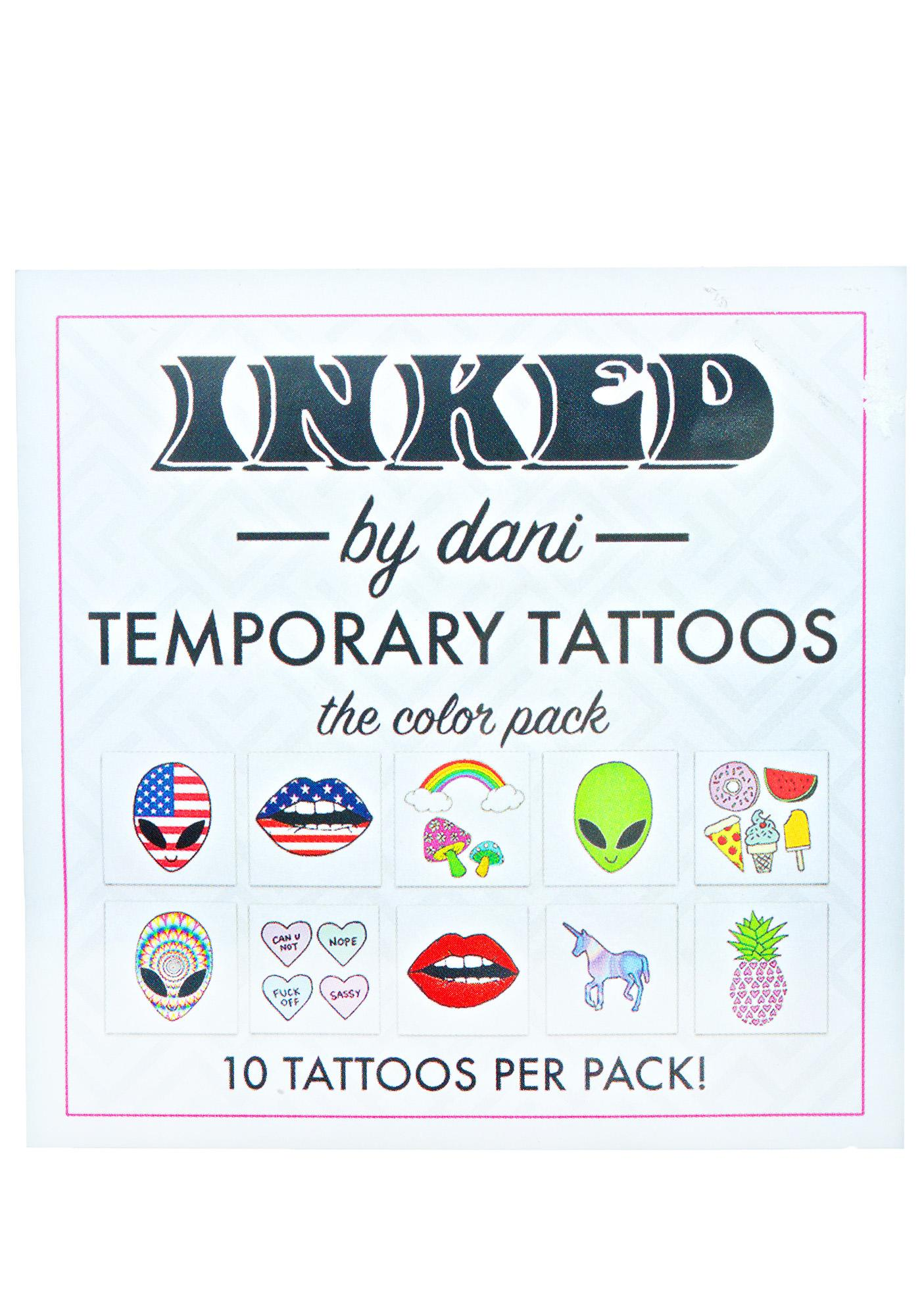 INKED by Dani Color Temporary Tattoo Pack