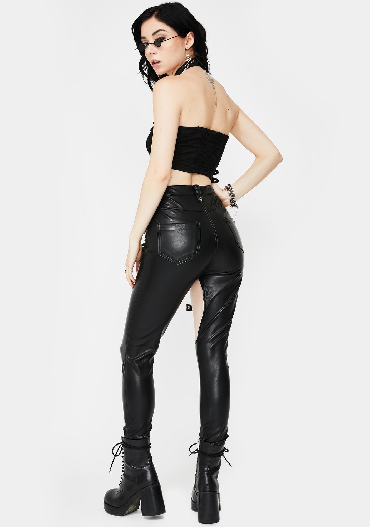 Devil Fashion Cross Cut-Out Skinny Pants