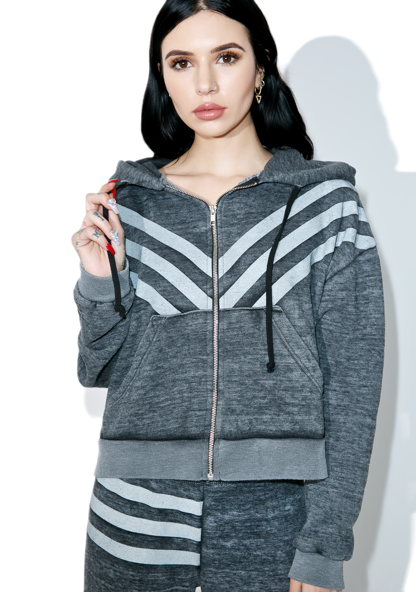Wildfox Couture Tri-Stripe Burnout Fleece Hoodie
