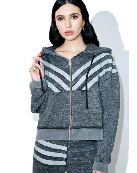 Tri-Stripe Burnout Fleece Hoodie