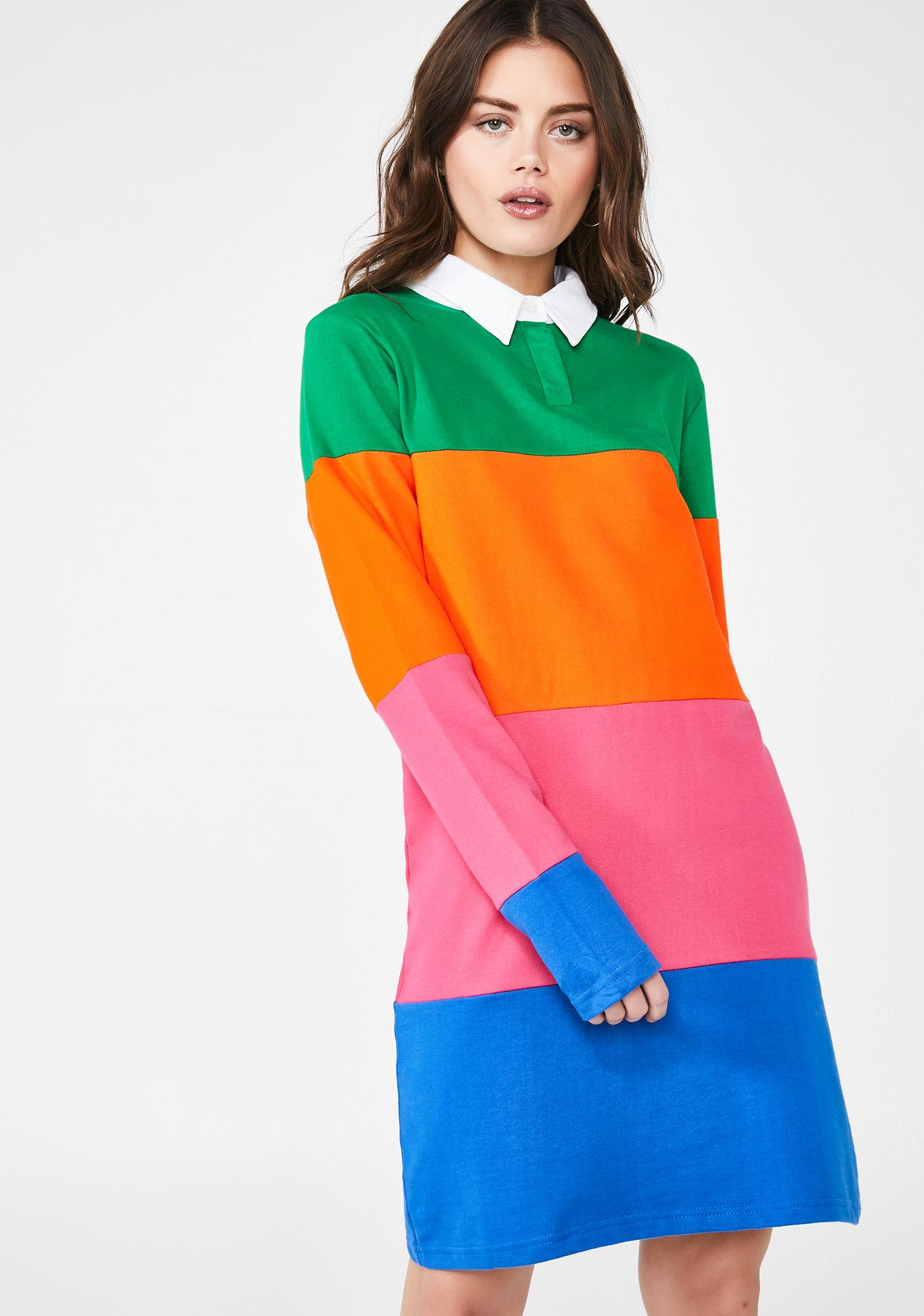 Daisy Street Colorblock Rugby Dress