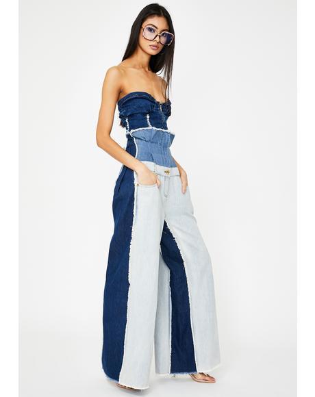 Denim Patchwork Corset Jeans