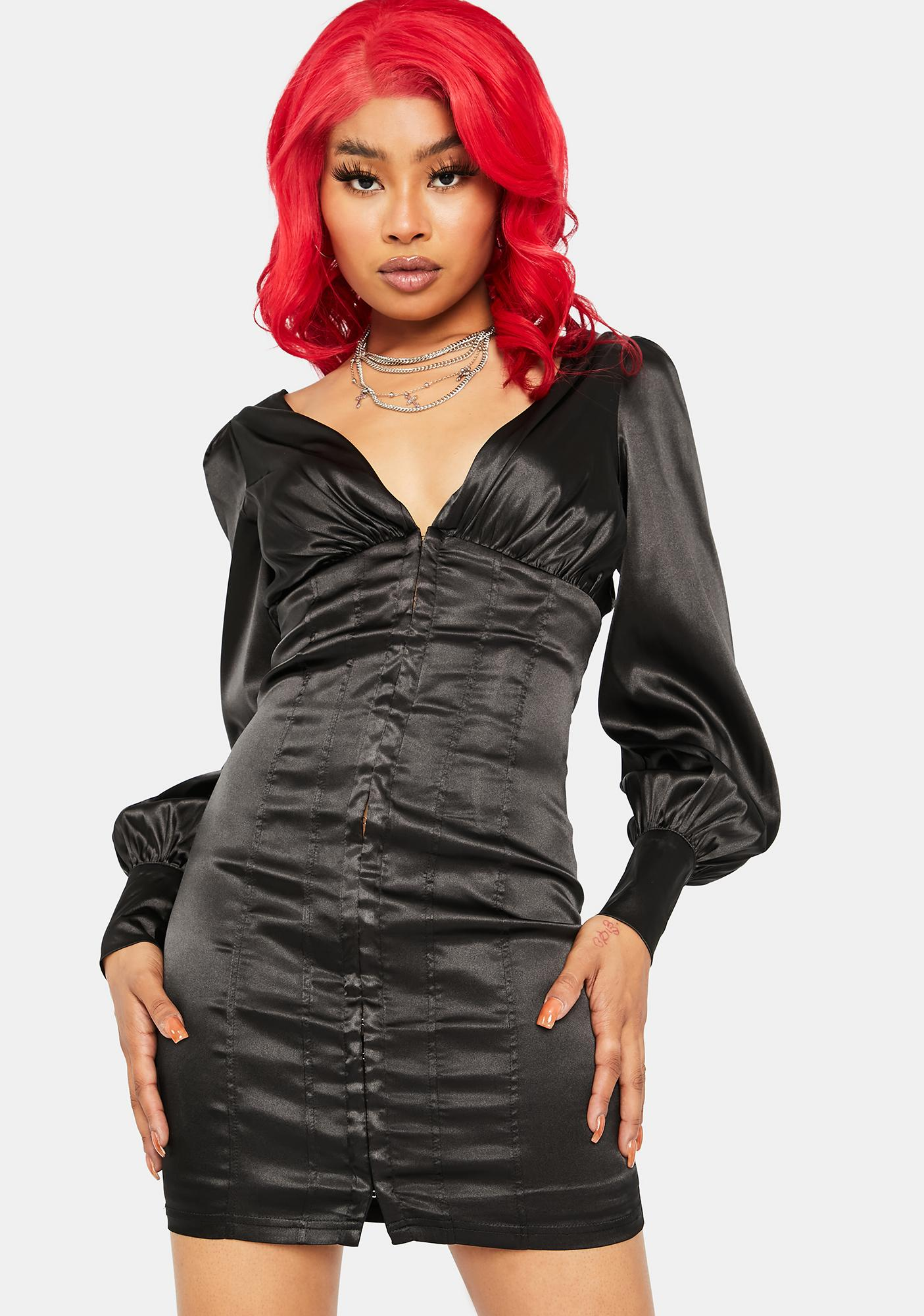 What's Your Motive Satin Dress