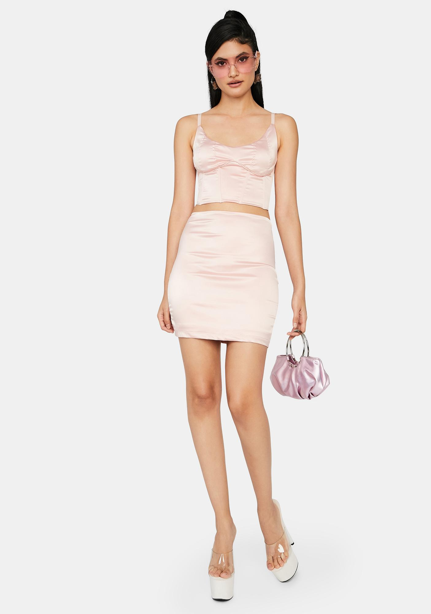 Blush Talk Is Cheap Satin Set