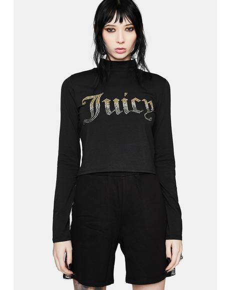 Rhinestone Juicy Logo Long Sleeve Top