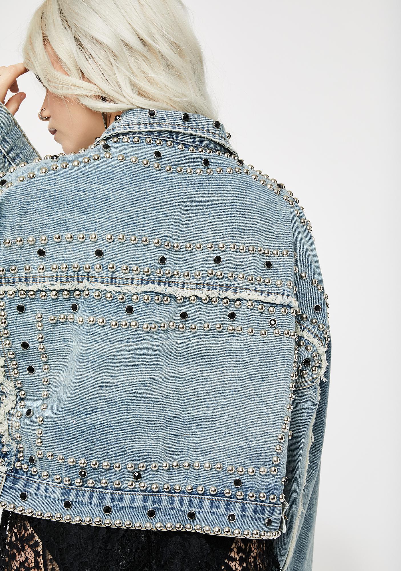 Rhinestone Brazy Denim Jacket
