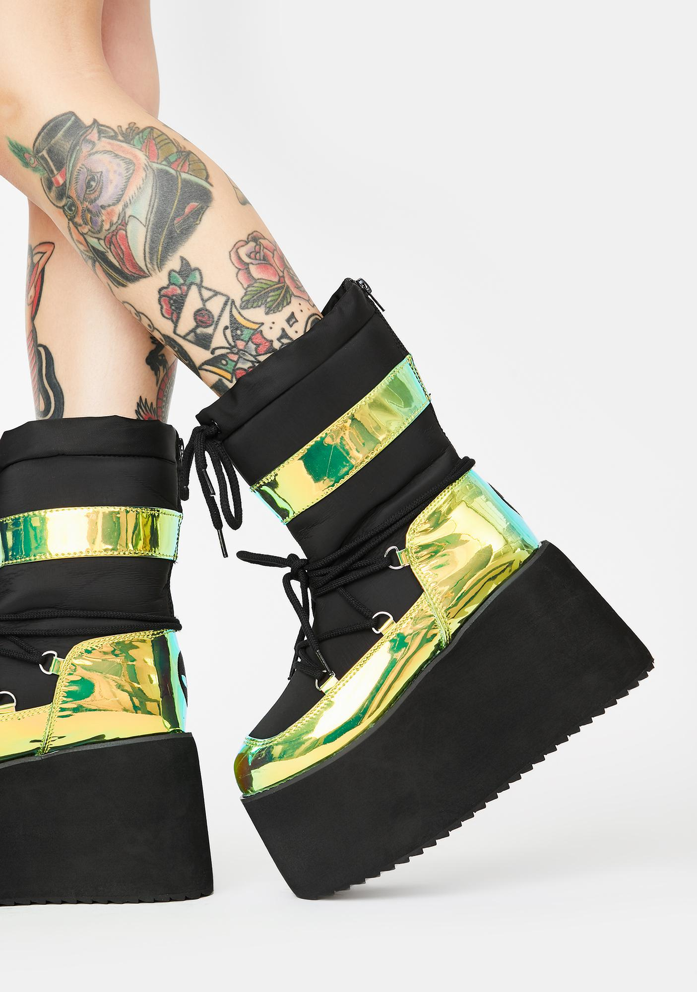 Y.R.U. Green Holographic Qronic Winter Boots