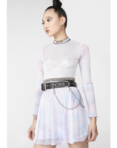 Tie Dye Mesh Skater Dress