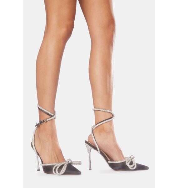 Public Desire Midnight Wrap Around Diamante Bow Heels