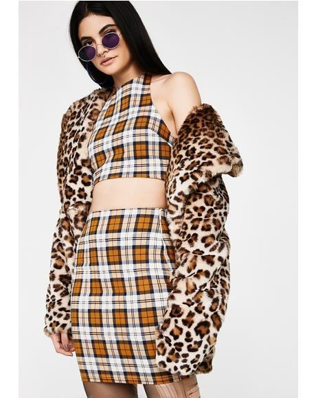 Gold Star Office Hours Plaid Set