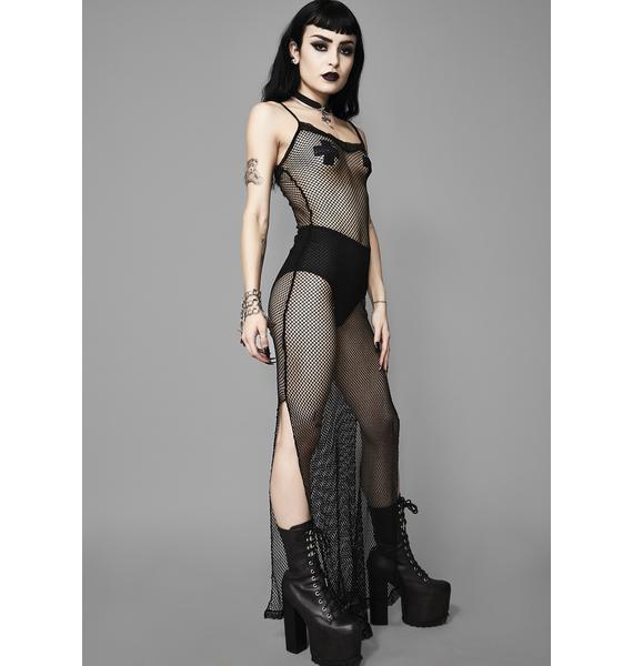 Widow Moonlight Fire Fishnet Dress