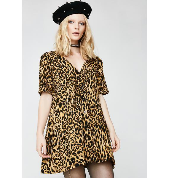 Motel Leopard Crosena Babydoll Dress