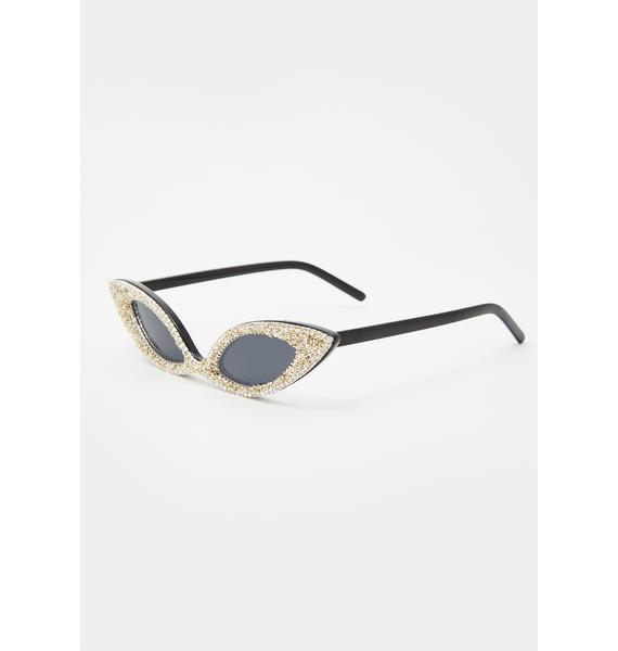 Old School Diva Rhinestone Sunglasses