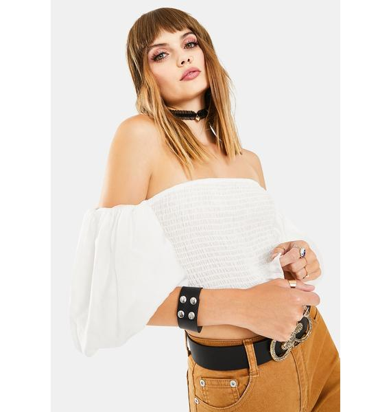 Glamorous White Puff Off The Shoulder Crop Top