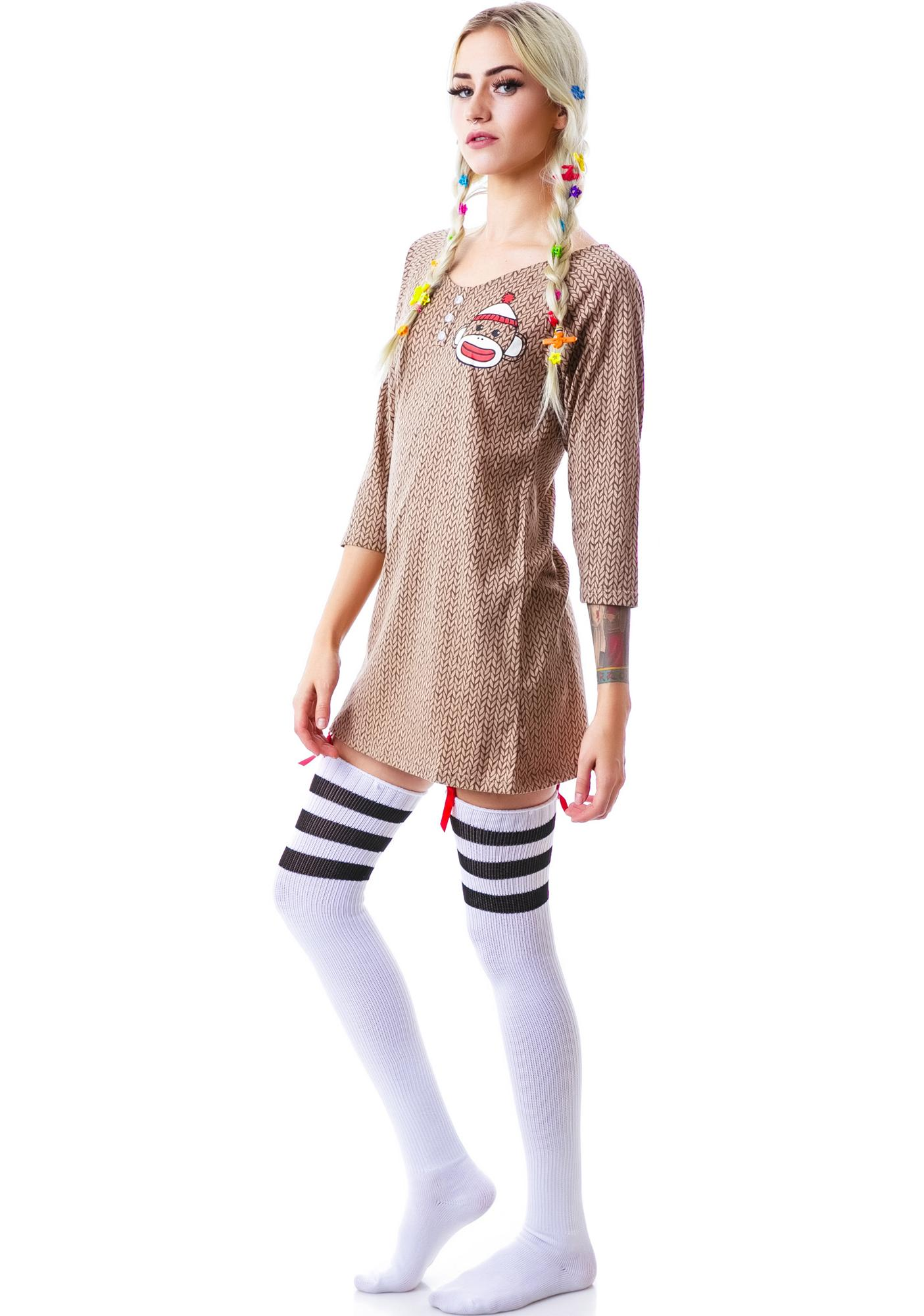 Undergirl Sock Monkey Hooded Dorm Shirt