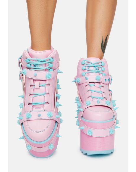 Baby Pink Qozmo Bondage Rose Platform Sneakers