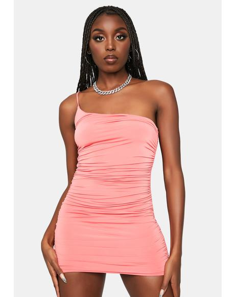 Coral Party Rockin' Ruched Bodycon Dress