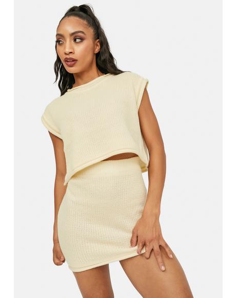 Beige Freestyle Mini Skirt Set