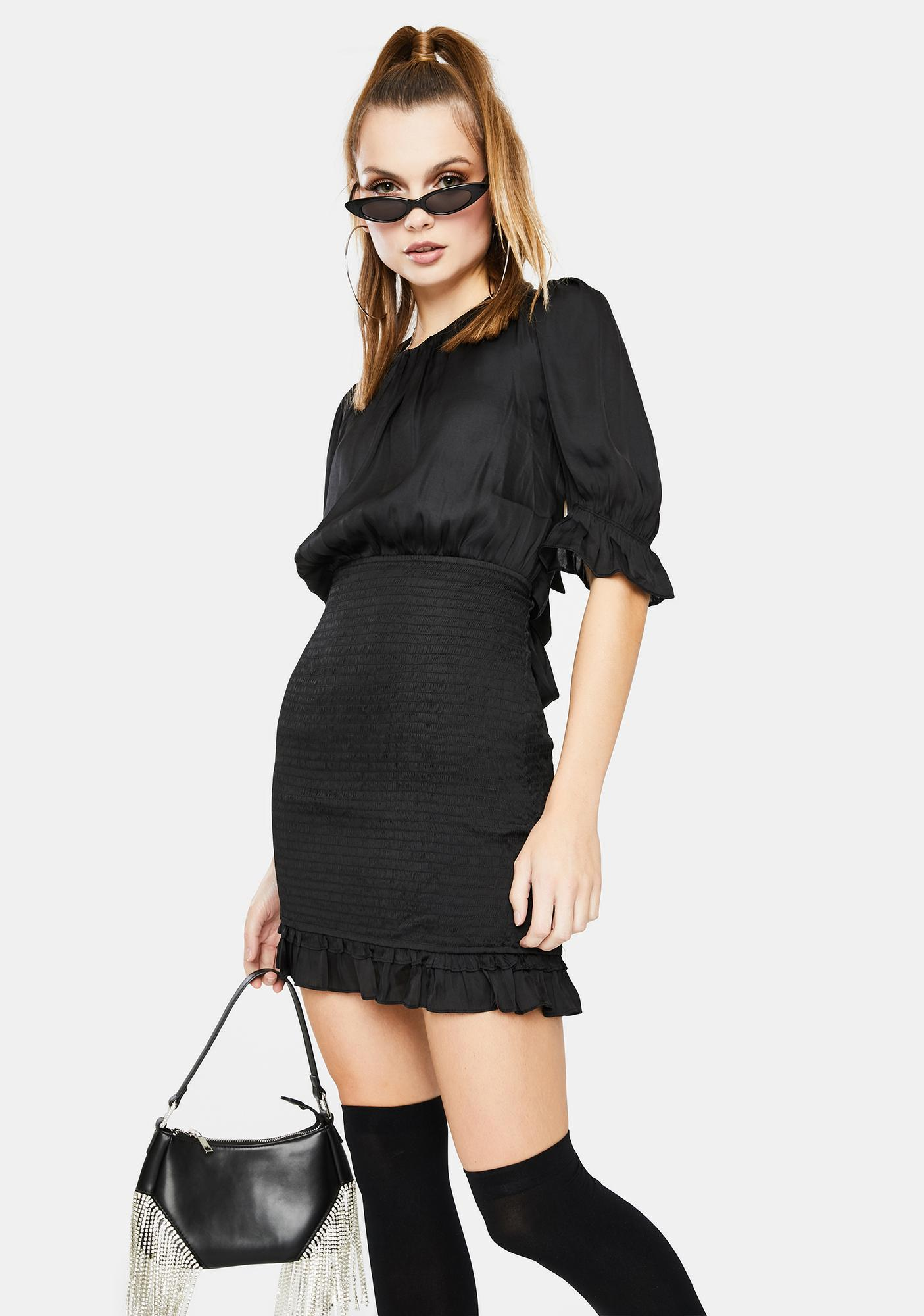 Bailey Rose Silky Ruched Mini Dress