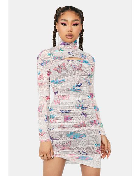 Trippin' Butterflies Mesh Midi Dress
