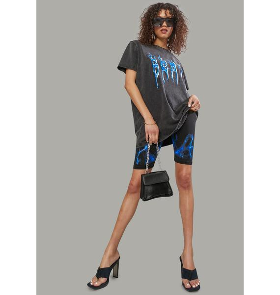 Poster Grl Catching Flames Graphic Tee And Shorts Set
