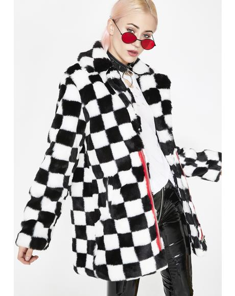 Mad Youth Checkered Faux Fur Coat