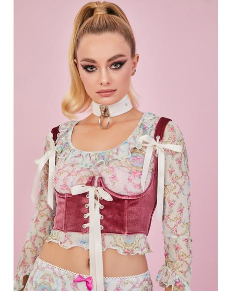 Blush My Beloved Velvet Underbust Corset Top
