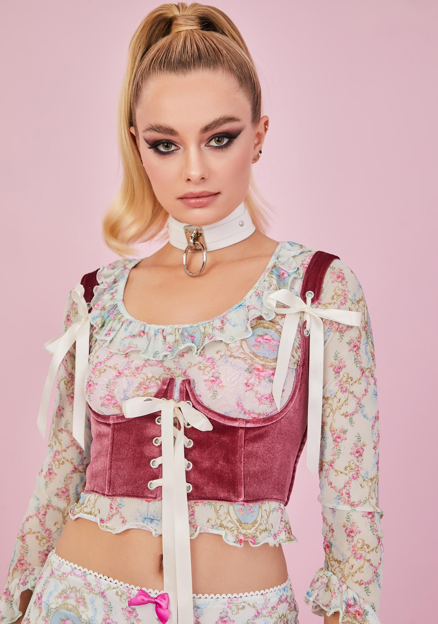 Sugar Thrillz Blush My Beloved Velvet Underbust Corset Top
