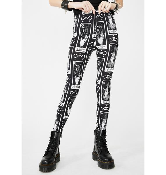 Too Fast Tarot Card High Waist Leggings