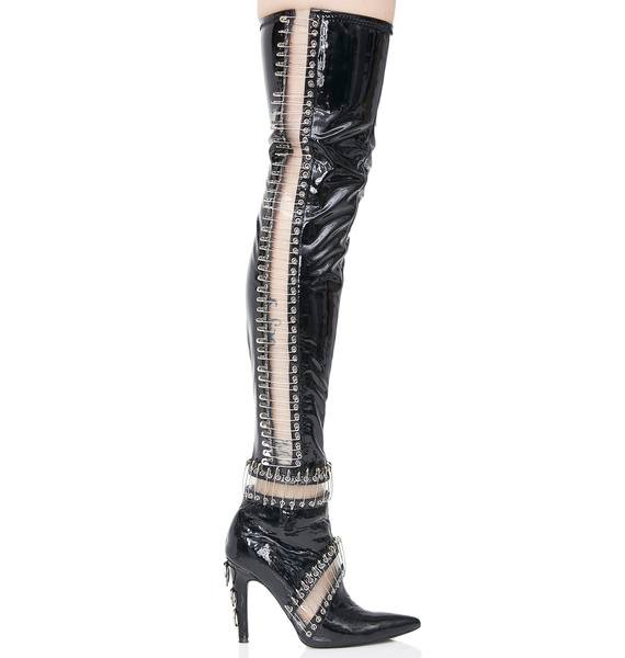 Current Mood Pinned Thigh High Boots