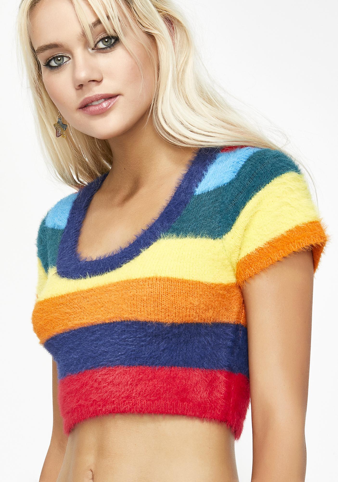 9923f6ef81d82 Rainbow Fuzzy Crop Top