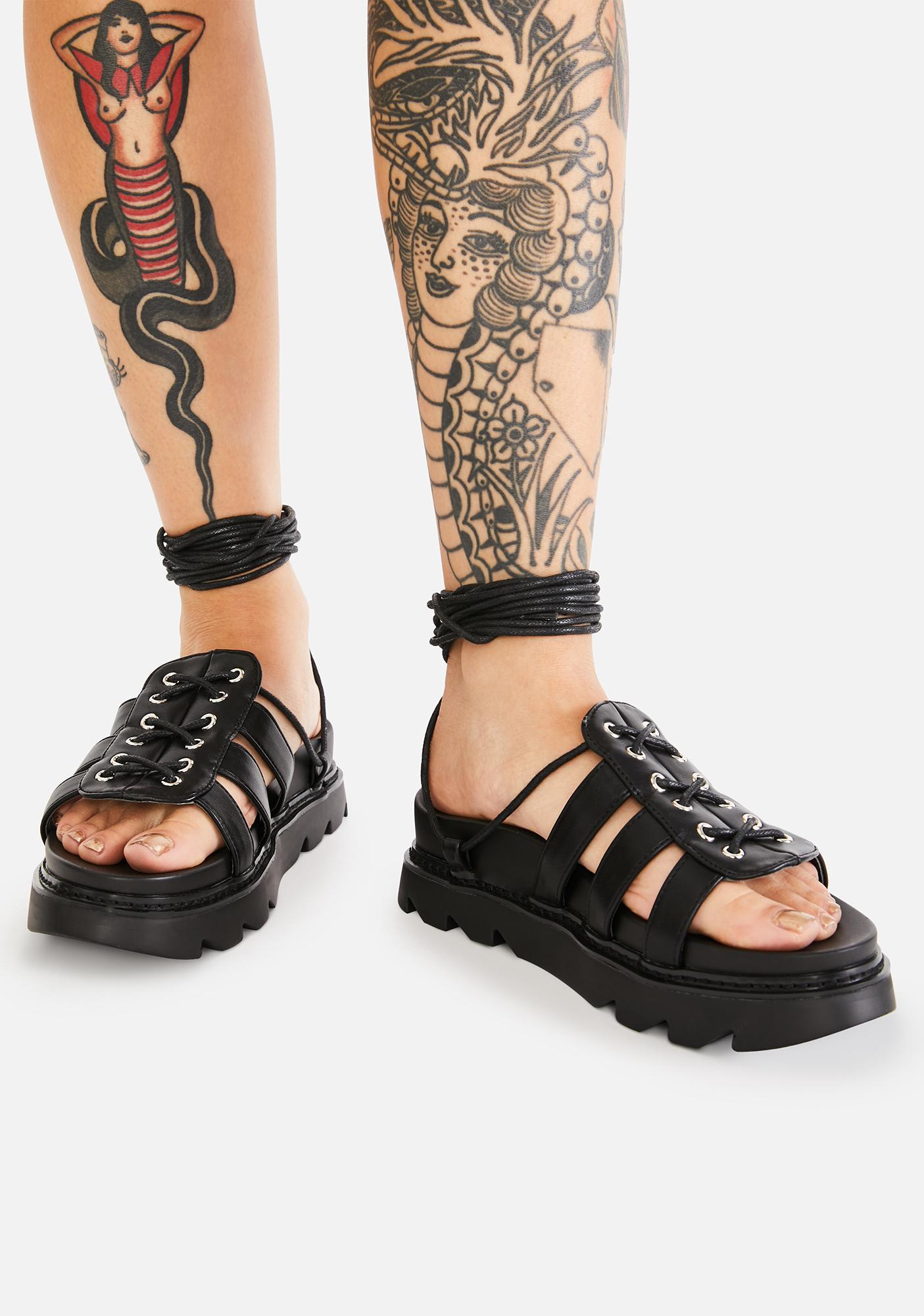 Lamoda Midnight Time's Up Gladiator Sandals