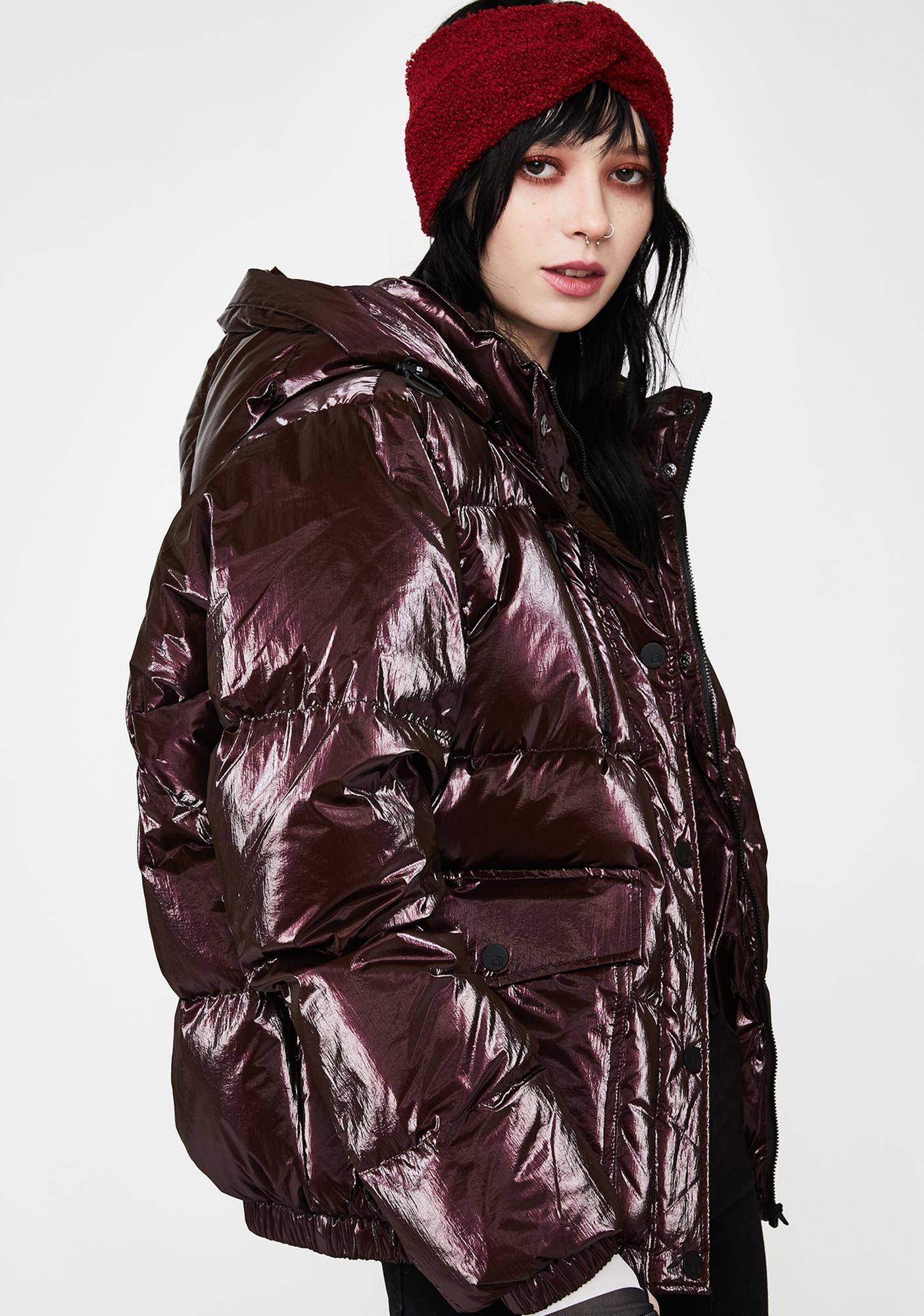Blanc Noir Red Mont Blanc Metallic Puffer Jacket