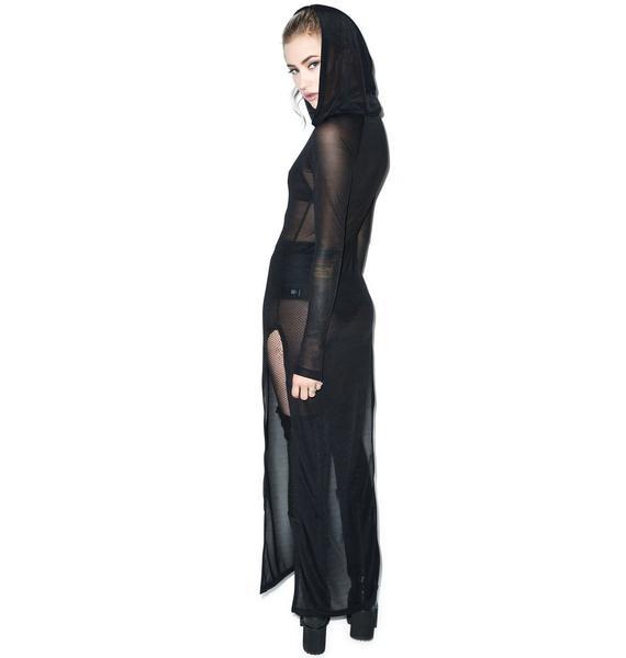Widow Raven's Shroud Long Sleeve Hooded Gown