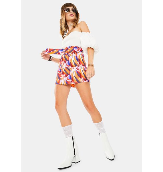 Glamorous Multi Art Print Skirt