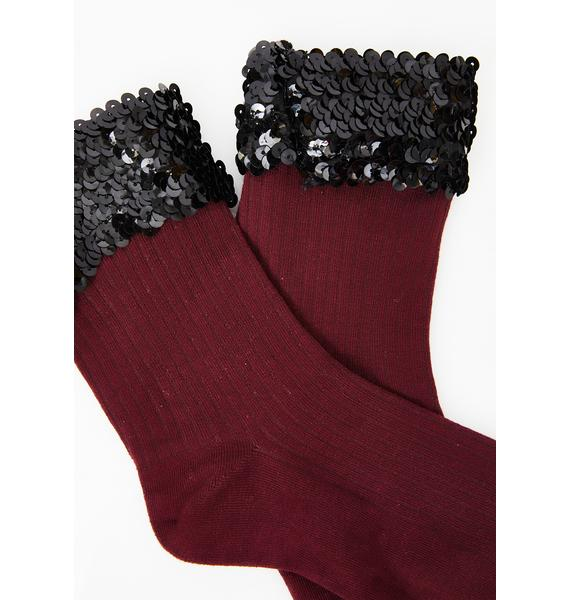 Burgundy Sparkle Baby Sequin Socks