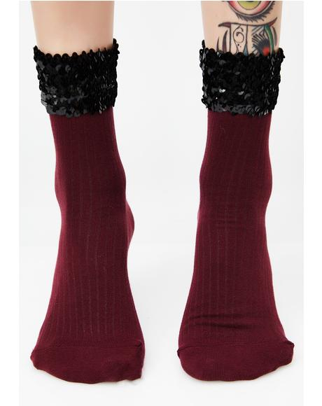 Burgundy Sparkle Baby Sequin Socks