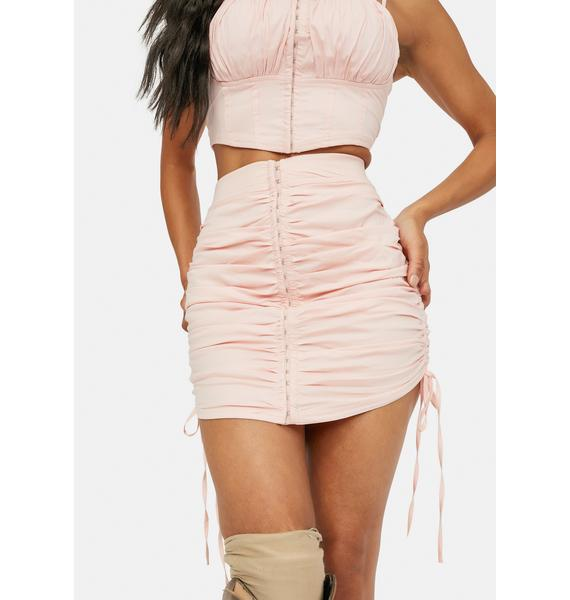 Confident Lux Ruched Tie Side Bodycon Skirt