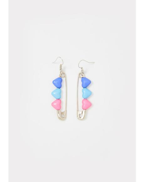 Luv Of Mine Safety Pin Earrings