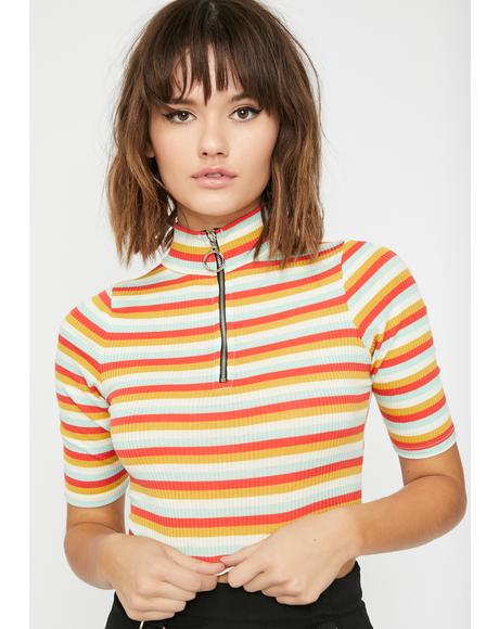 Vibrant Slay Striped Top
